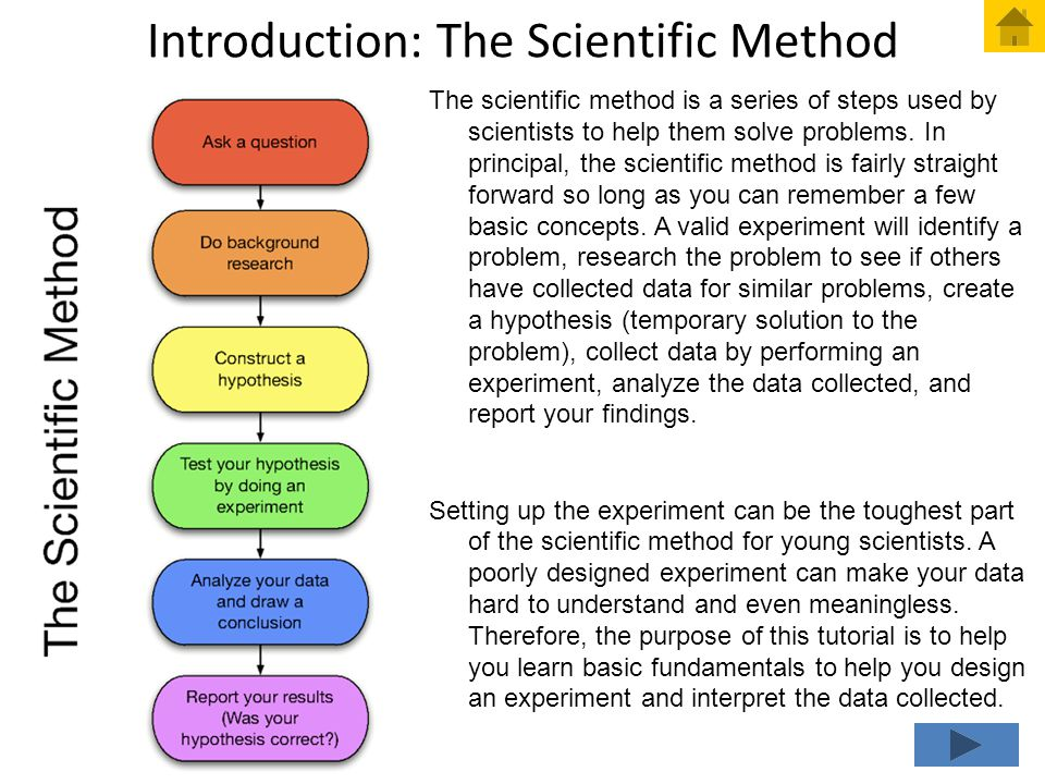 Introduction: The Scientific Method The scientific method is a series of steps used by scientists to help them solve problems. In principal, the scien