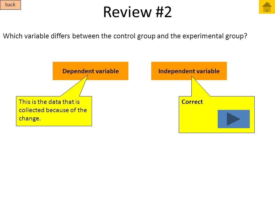 Review #2 Which variable differs between the control group and the experimental group? Dependent variableIndependent variable This is the data that is