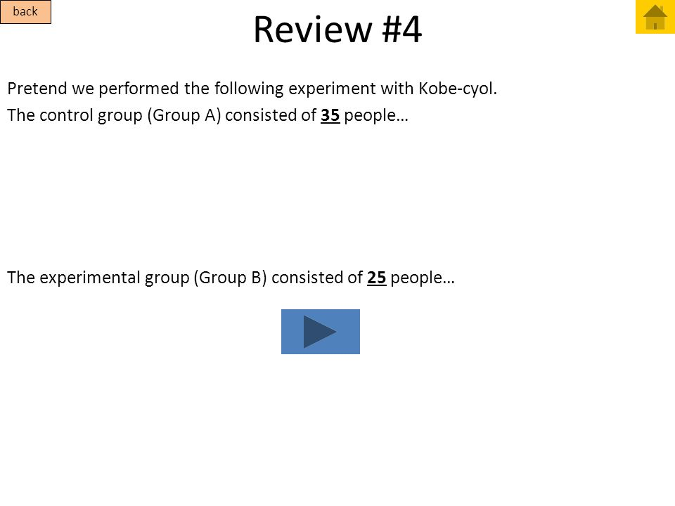 Review #4 Pretend we performed the following experiment with Kobe-cyol. The control group (Group A) consisted of 35 people… The experimental group (Gr