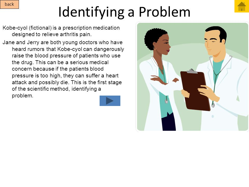 Identifying a Problem Kobe-cyol (fictional) is a prescription medication designed to relieve arthritis pain. Jane and Jerry are both young doctors who