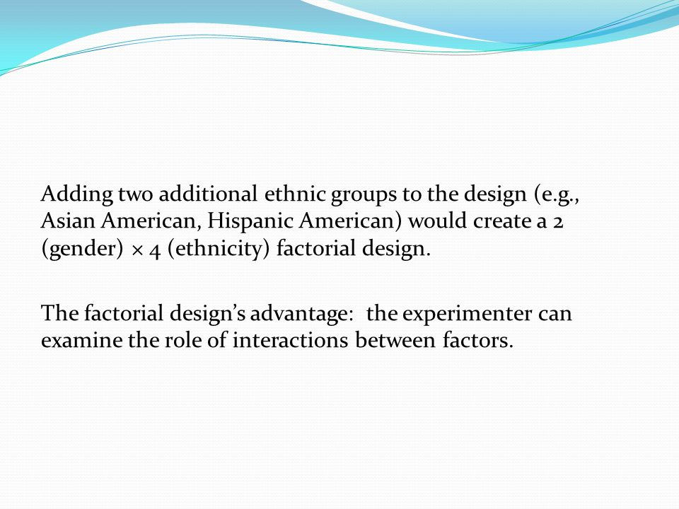 Adding two additional ethnic groups to the design (e.g., Asian American, Hispanic American) would create a 2 (gender) × 4 (ethnicity) factorial design