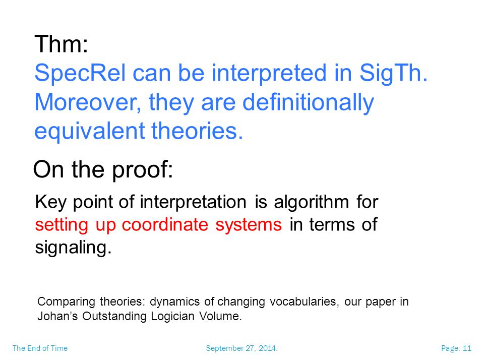 September 27, 2014.The End of TimePage: 11 Thm: SpecRel can be interpreted in SigTh.