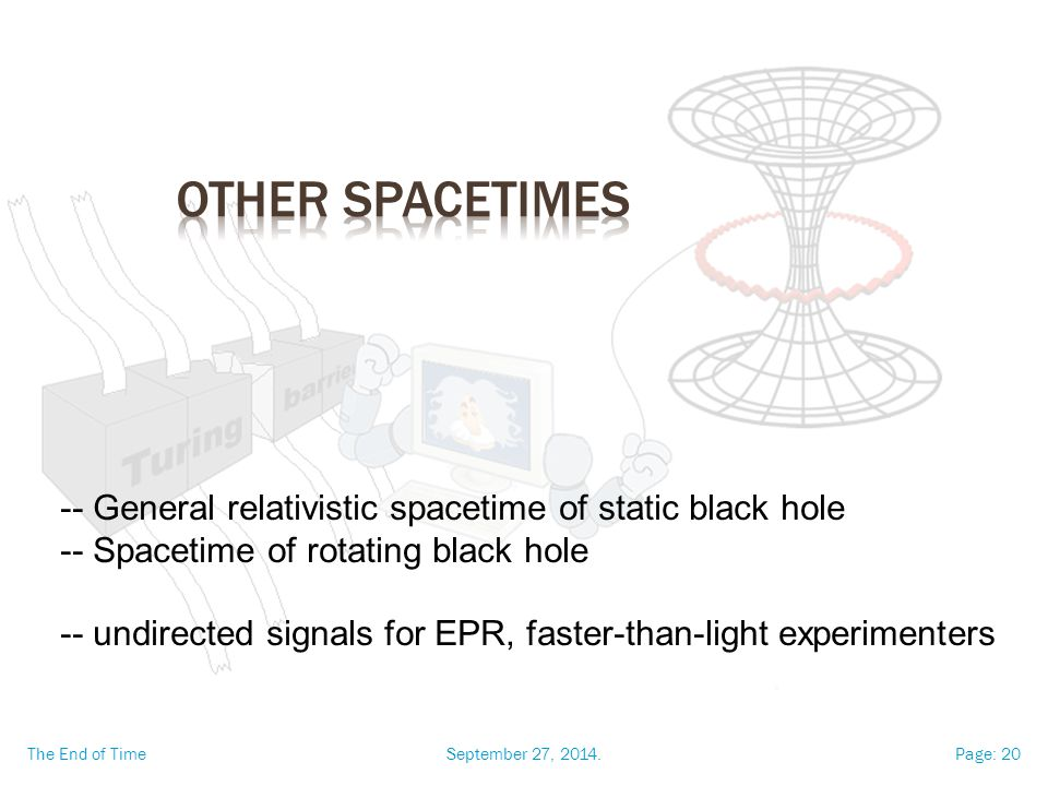 September 27, 2014.The End of TimePage: 20 -- General relativistic spacetime of static black hole -- Spacetime of rotating black hole -- undirected signals for EPR, faster-than-light experimenters