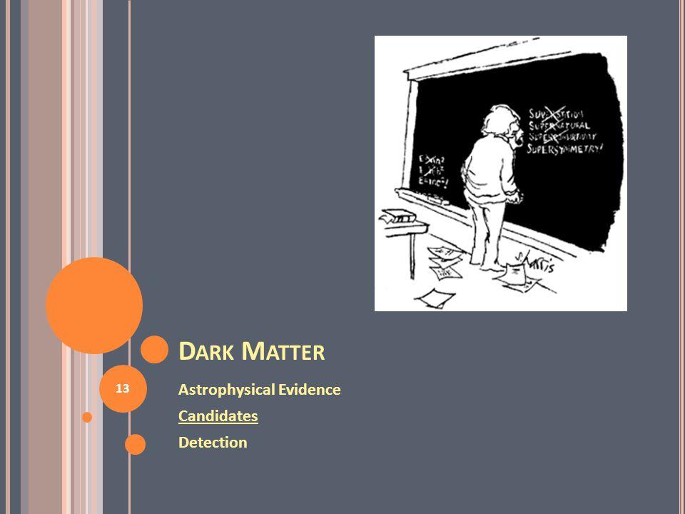 D ARK M ATTER Astrophysical Evidence Candidates Detection 13
