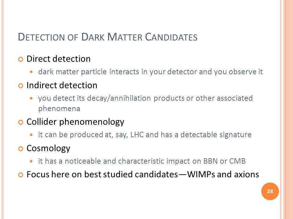 D ETECTION OF D ARK M ATTER C ANDIDATES Direct detection dark matter particle interacts in your detector and you observe it Indirect detection you det