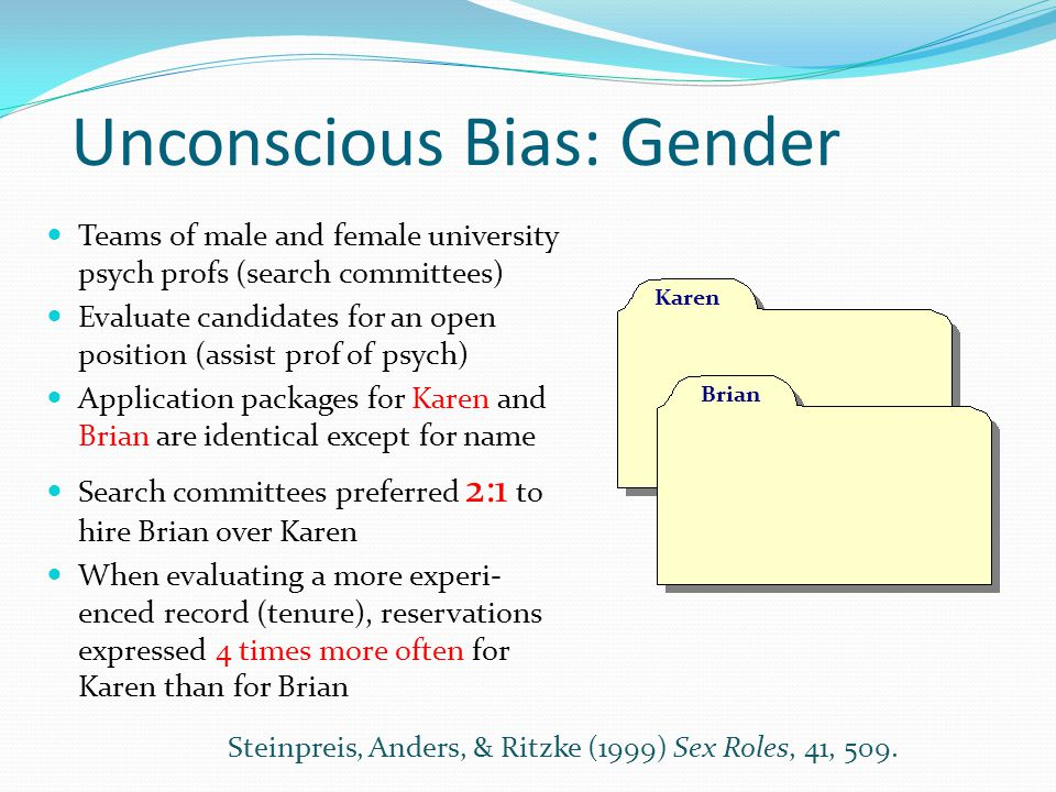 Unconscious Bias: Gender Teams of male and female university psych profs (search committees) Evaluate candidates for an open position (assist prof of psych) Application packages for Karen and Brian are identical except for name Search committees preferred 2:1 to hire Brian over Karen When evaluating a more experi- enced record (tenure), reservations expressed 4 times more often for Karen than for Brian Brian Karen Steinpreis, Anders, & Ritzke (1999) Sex Roles, 41, 509.