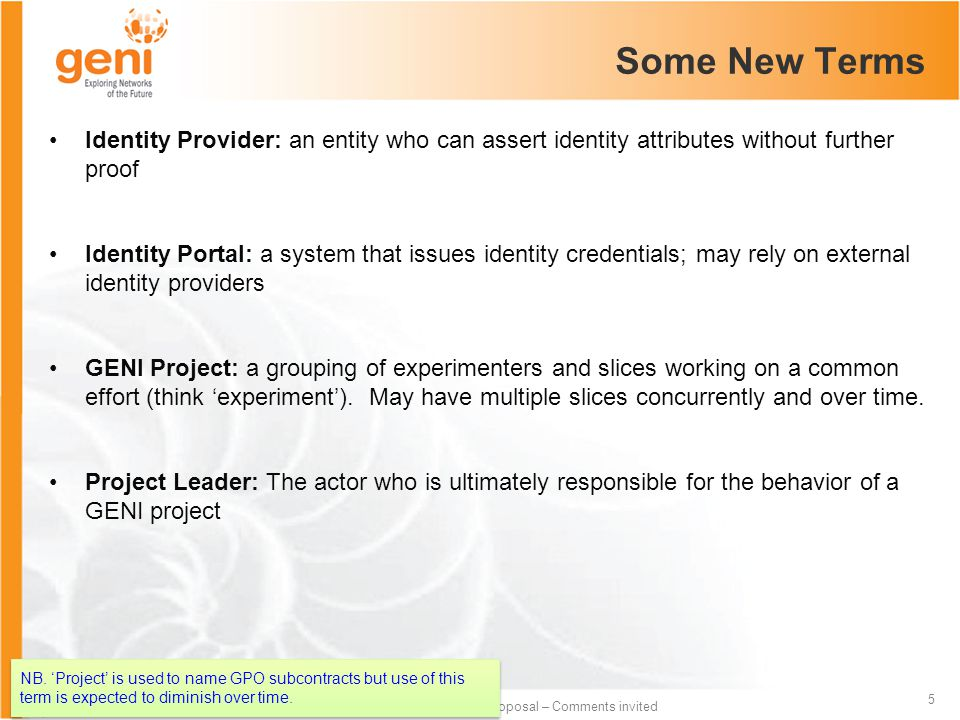 Sponsored by the National Science Foundation 5 Draft proposal – Comments invited Some New Terms Identity Provider: an entity who can assert identity a