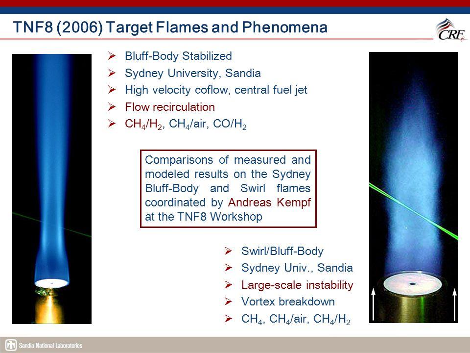 TNF8 (2006) Target Flames and Phenomena  Bluff-Body Stabilized  Sydney University, Sandia  High velocity coflow, central fuel jet  Flow recirculat