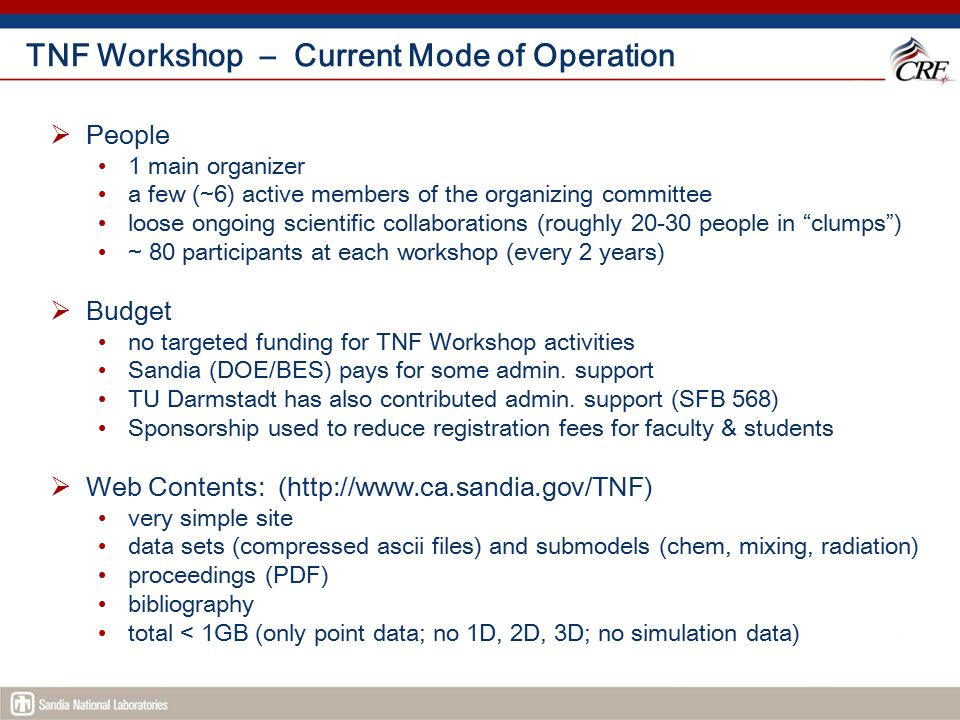 TNF Workshop – Current Mode of Operation  People 1 main organizer a few (~6) active members of the organizing committee loose ongoing scientific coll