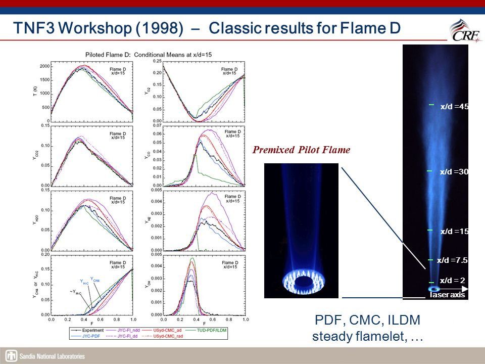 TNF4 Workshop (1999) – Example Comparisons Axial and radial profiles: U, u', F, F', T, T' Conditional means: T, O 2, CO 2, CO, H 2 O, H 2, CH 4, OH, (NO) T scatter plots