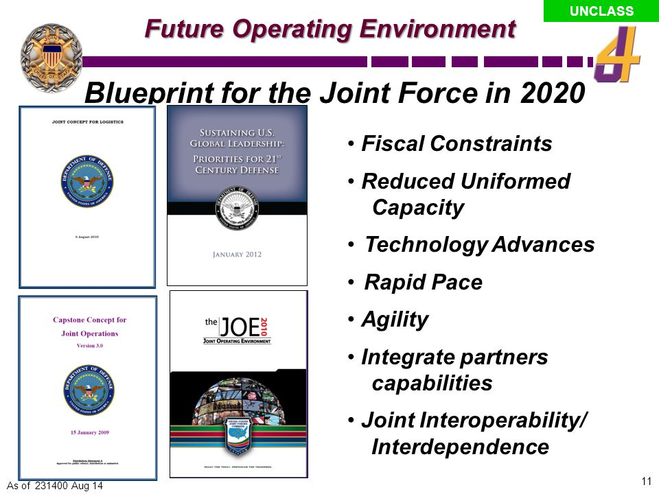 UNCLASS The Operational Challenge How will future joint forces with constrained resources protect U.S.