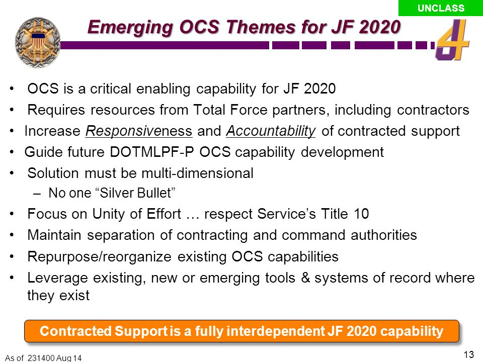 UNCLASS CCJO: JF2020 Solution Central Idea Globally integrated operations: A globally postured Joint Force quickly combines capabilities with itself and mission partners across domains, echelons, geographic boundaries, and organizational affiliations.