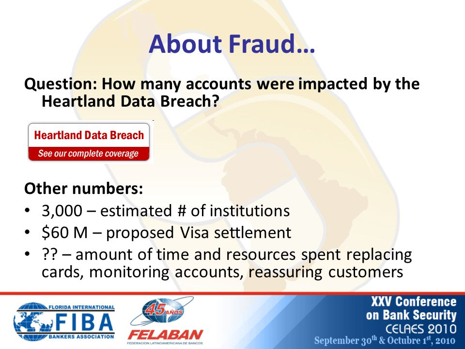 About Fraud… Question: How many accounts were impacted by the Heartland Data Breach.