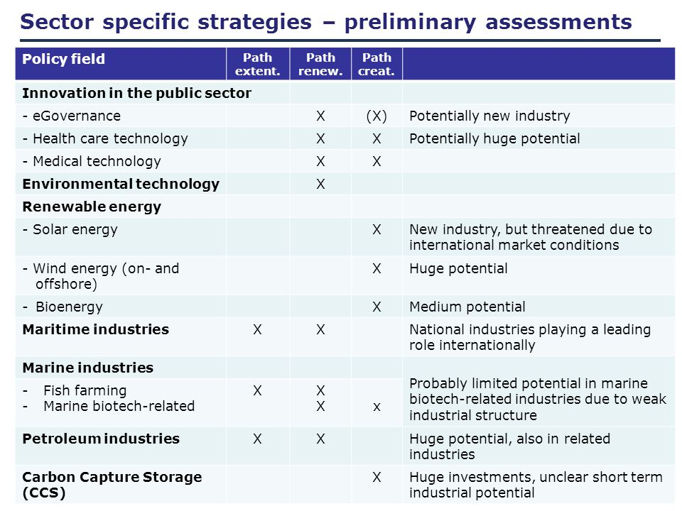 Sector specific strategies – preliminary assessments Policy field Path extent.