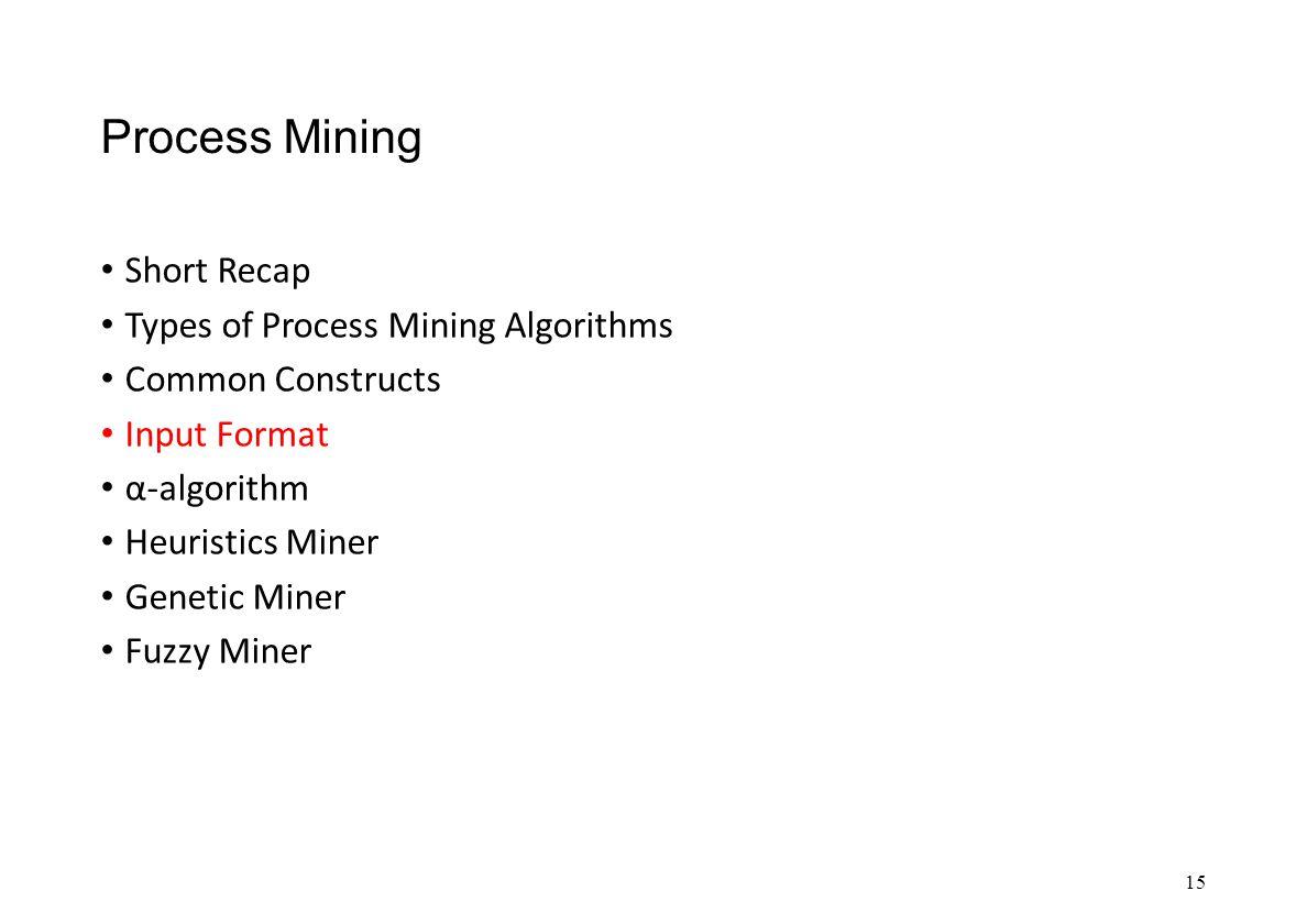Process Mining Short Recap Types of Process Mining Algorithms Common Constructs Input Format α-algorithm Heuristics Miner Genetic Miner Fuzzy Miner 15