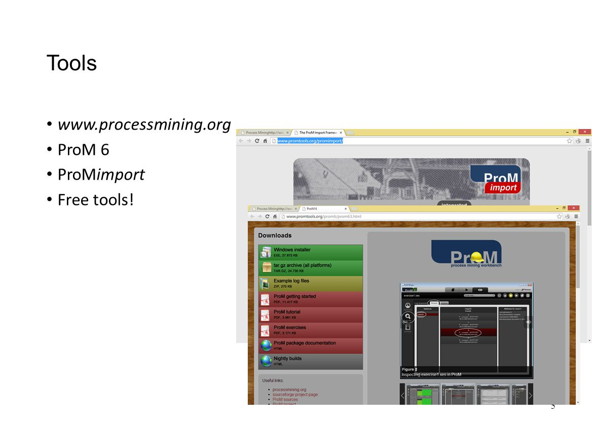 Tools www.processmining.org ProM 6 ProMimport Free tools! 5