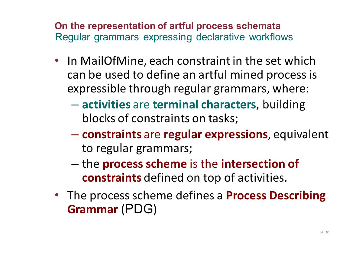 On the representation of artful process schemata In MailOfMine, each constraint in the set which can be used to define an artful mined process is expressible through regular grammars, where: – activities are terminal characters, building blocks of constraints on tasks; – constraints are regular expressions, equivalent to regular grammars; – the process scheme is the intersection of constraints defined on top of activities.