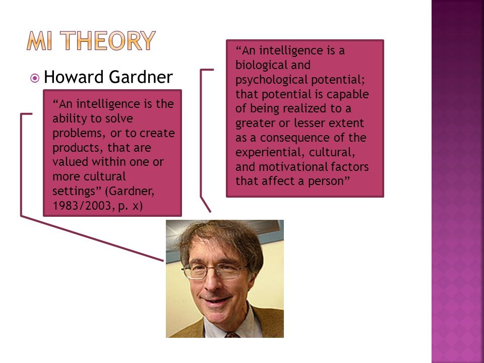 " Howard Gardner ""An intelligence is the ability to solve problems, or to create products, that are valued within one or more cultural settings"" (Gard"