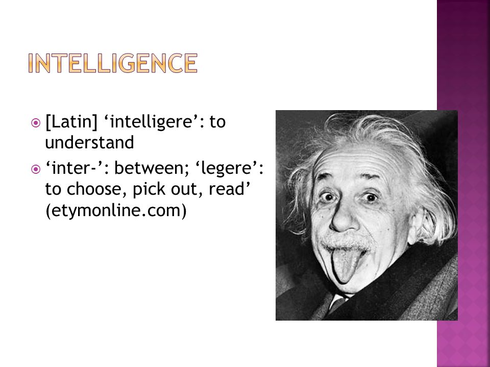  [Latin] 'intelligere': to understand  'inter-': between; 'legere': to choose, pick out, read' (etymonline.com)