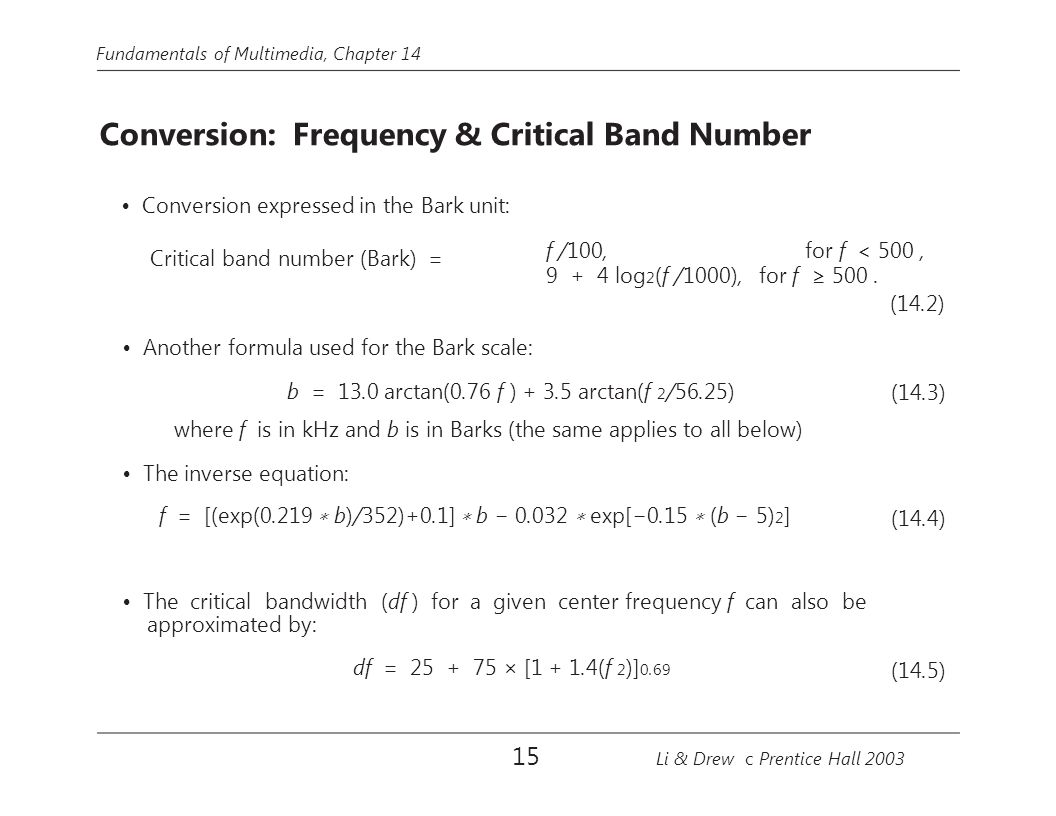 Fundamentals of Multimedia, Chapter 14 Conversion: Frequency & Critical Band Number Conversion expressed in the Bark unit: Critical band number (Bark)
