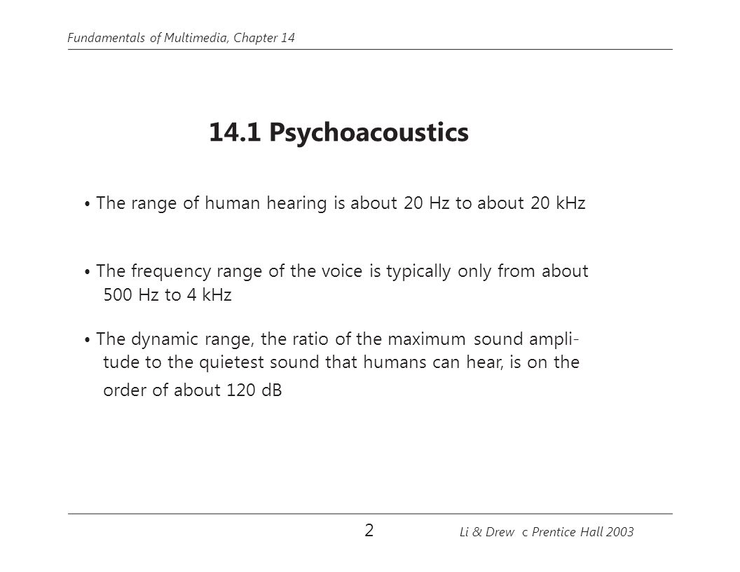 Fundamentals of Multimedia, Chapter 14 PCM audio signal M-DCT Psychoacoustic model Bitstream formatting Nonuniform quantization Side-information coding Huffman coding Filter bank: 32 subbands 1,024-point FFT Coded audio signal Fig 14.14: MPEG-Audio Layer 3 Coding.