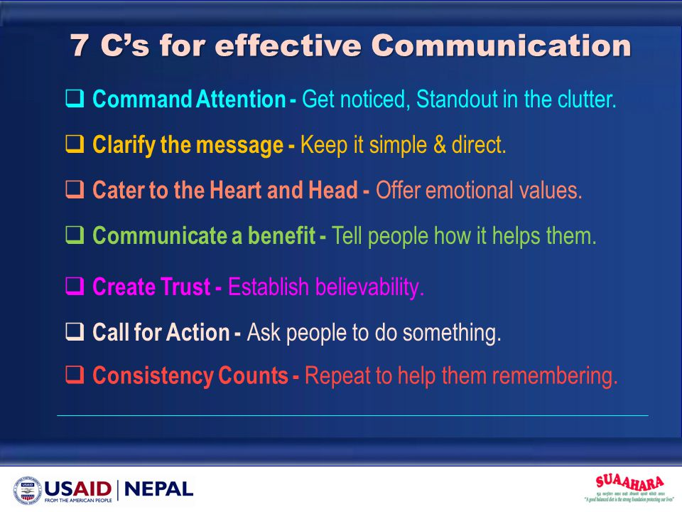 7 C's for effective Communication  Command Attention - Get noticed, Standout in the clutter.  Clarify the message - Keep it simple & direct.  Commu