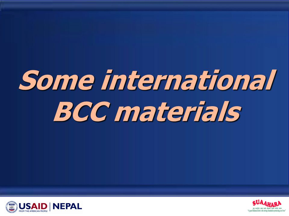 Some international BCC materials