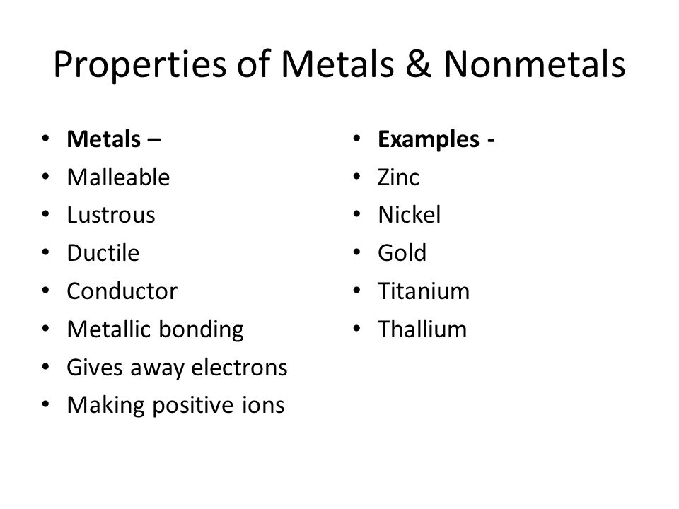 Properties of Metals & Nonmetals Metals – Malleable Lustrous Ductile Conductor Metallic bonding Gives away electrons Making positive ions Examples - Z