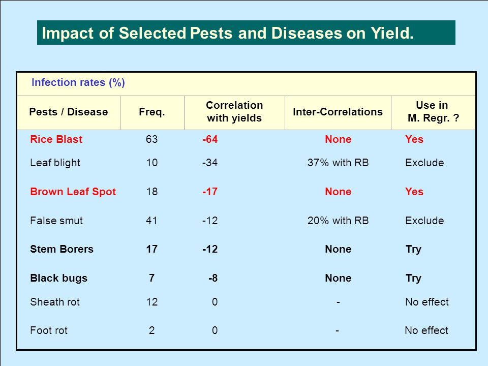 Impact of Selected Pests and Diseases on Yield.