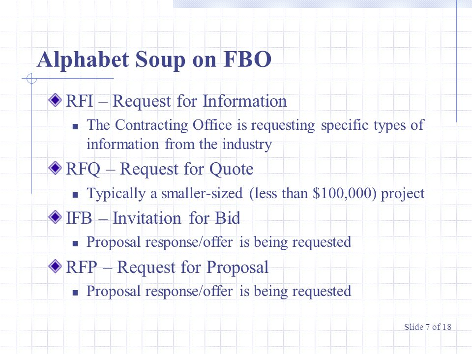 Alphabet Soup on FBO RFI – Request for Information The Contracting Office is requesting specific types of information from the industry RFQ – Request for Quote Typically a smaller-sized (less than $100,000) project IFB – Invitation for Bid Proposal response/offer is being requested RFP – Request for Proposal Proposal response/offer is being requested Slide 7 of 18