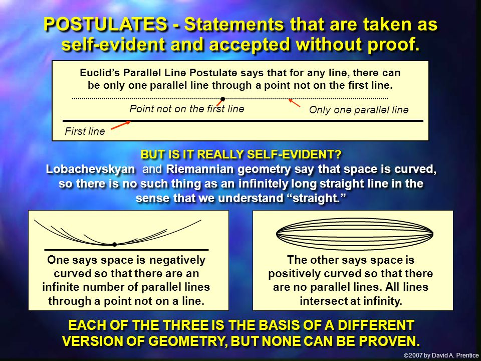  2007 by David A. Prentice Euclid's Parallel Line Postulate says that for any line, there can be only one parallel line through a point not on the f