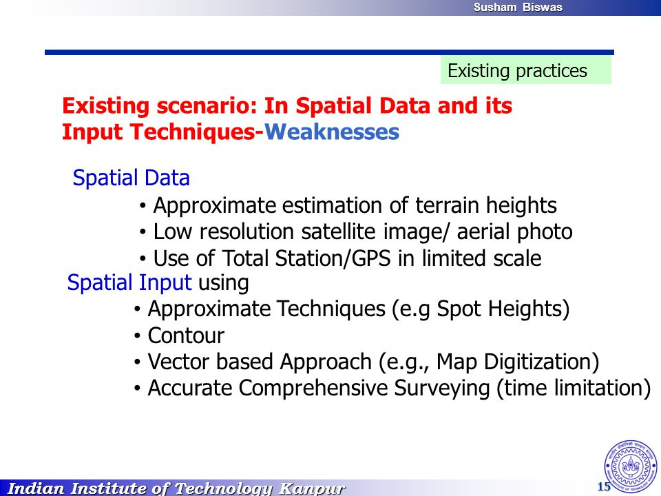 Indian Institute of Technology Kanpur Susham Biswas Susham Biswas 15 Existing scenario: In Spatial Data and its Input Techniques-Weaknesses Spatial In