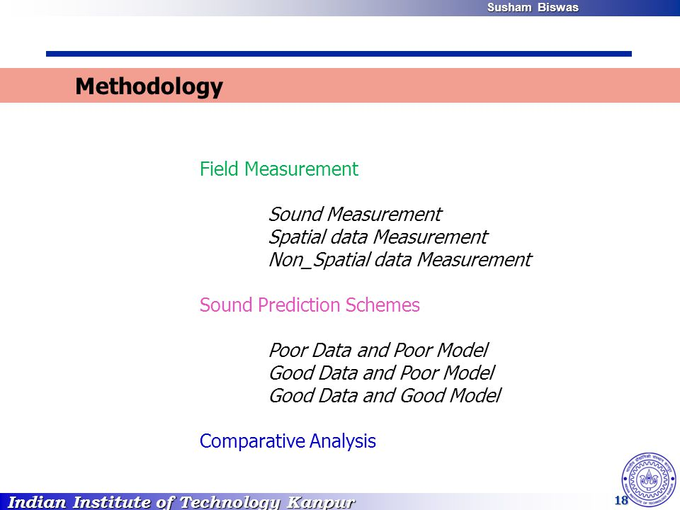 Indian Institute of Technology Kanpur Susham Biswas Susham Biswas 18 Methodology Field Measurement Sound Measurement Spatial data Measurement Non_Spatial data Measurement Sound Prediction Schemes Poor Data and Poor Model Good Data and Poor Model Good Data and Good Model Comparative Analysis