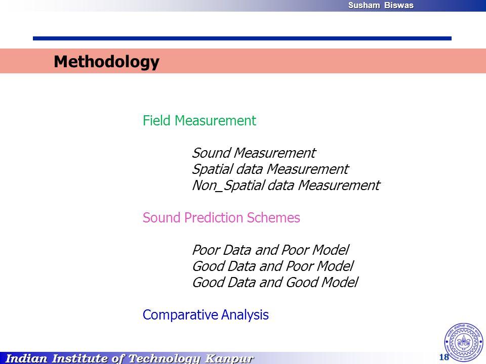 Indian Institute of Technology Kanpur Susham Biswas Susham Biswas 18 Methodology Field Measurement Sound Measurement Spatial data Measurement Non_Spat