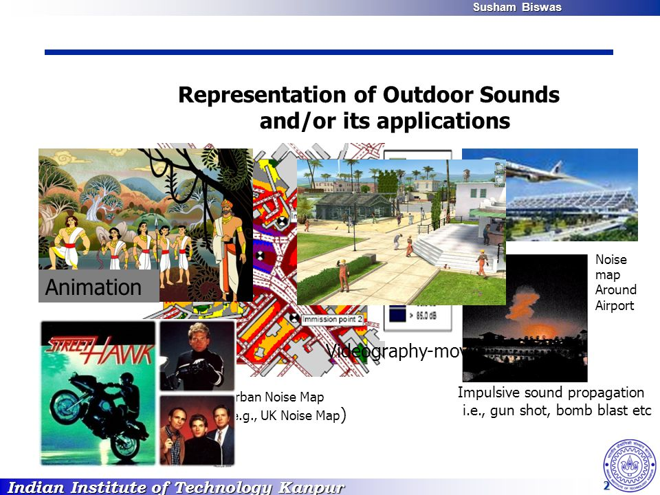 Indian Institute of Technology Kanpur Susham Biswas Susham Biswas 2 Noise map Around Airport Impulsive sound propagation i.e., gun shot, bomb blast etc Urban Noise Map (e.g., UK Noise Map ) Animation Videography-movie Representation of Outdoor Sounds and/or its applications