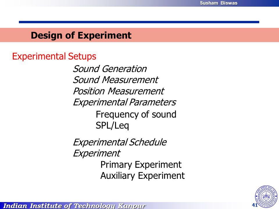 Indian Institute of Technology Kanpur Susham Biswas Susham Biswas 41 Design of Experiment Experimental Setups Sound Generation Sound Measurement Position Measurement Experimental Parameters Frequency of sound SPL/Leq Experimental Schedule Experiment Primary Experiment Auxiliary Experiment