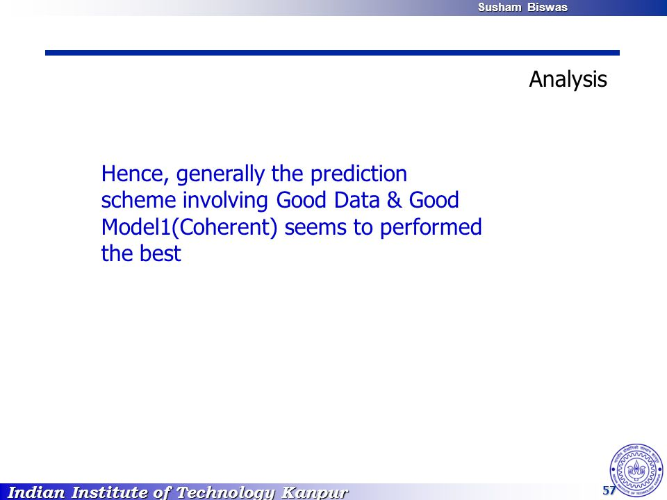 Indian Institute of Technology Kanpur Susham Biswas Susham Biswas 57 Hence, generally the prediction scheme involving Good Data & Good Model1(Coherent) seems to performed the best Analysis