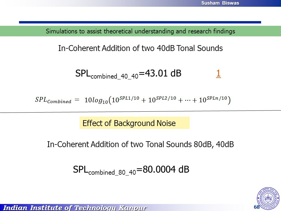Indian Institute of Technology Kanpur Susham Biswas Susham Biswas 68 In-Coherent Addition of two 40dB Tonal Sounds Simulations to assist theoretical u