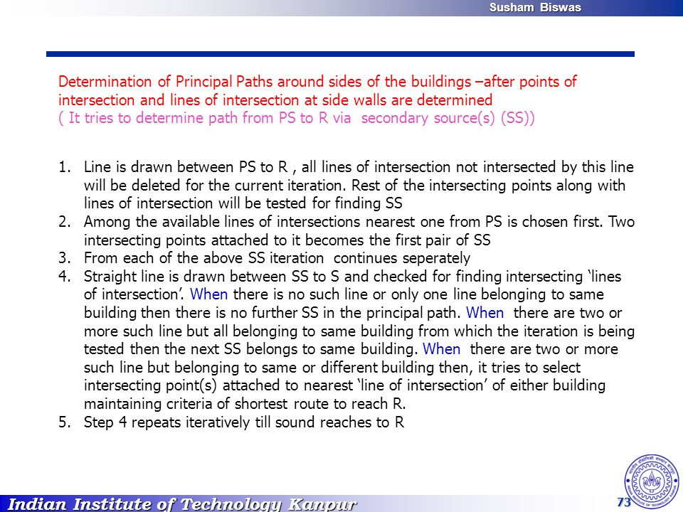Indian Institute of Technology Kanpur Susham Biswas Susham Biswas 73 Determination of Principal Paths around sides of the buildings –after points of intersection and lines of intersection at side walls are determined ( It tries to determine path from PS to R via secondary source(s) (SS)) 1.Line is drawn between PS to R, all lines of intersection not intersected by this line will be deleted for the current iteration.