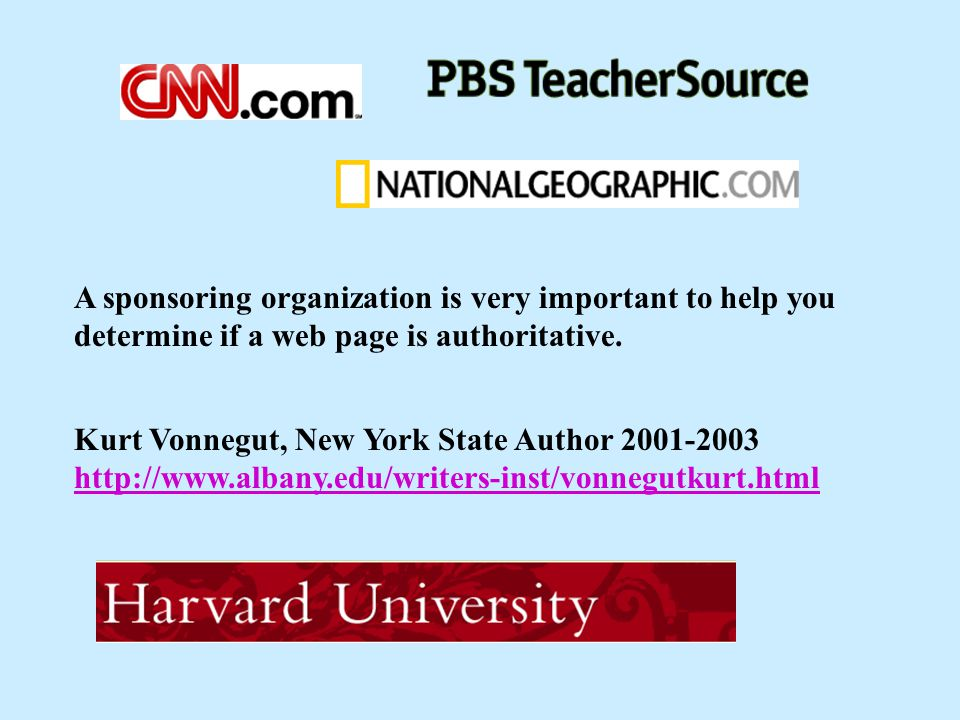 A sponsoring organization is very important to help you determine if a web page is authoritative.