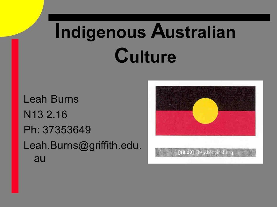I ndigenous A ustralian C ulture Leah Burns N13 2.16 Ph: 37353649 Leah.Burns@griffith.edu. au