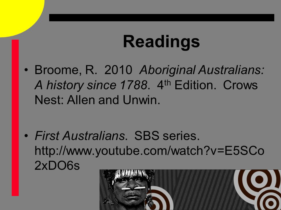 Readings Broome, R. 2010 Aboriginal Australians: A history since 1788.