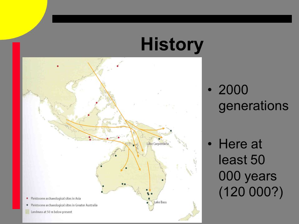 History 2000 generations Here at least 50 000 years (120 000 )