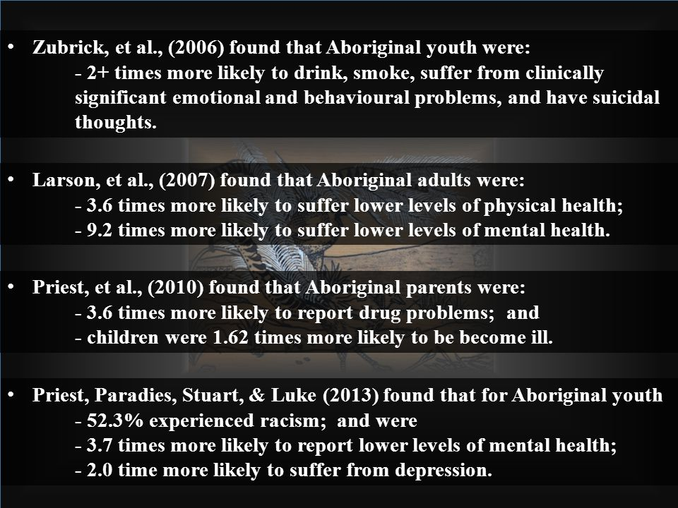 Larson, et al., (2007) found that Aboriginal adults were: - 3.6 times more likely to suffer lower levels of physical health; - 9.2 times more likely to suffer lower levels of mental health.