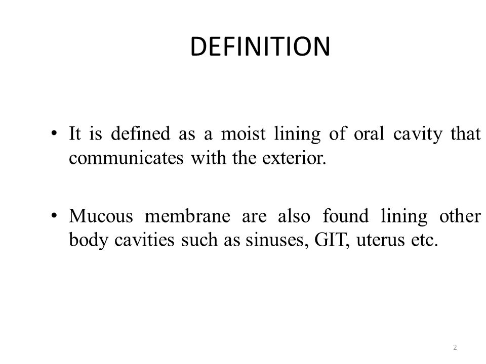 DEFINITION It is defined as a moist lining of oral cavity that communicates with the exterior. Mucous membrane are also found lining other body caviti