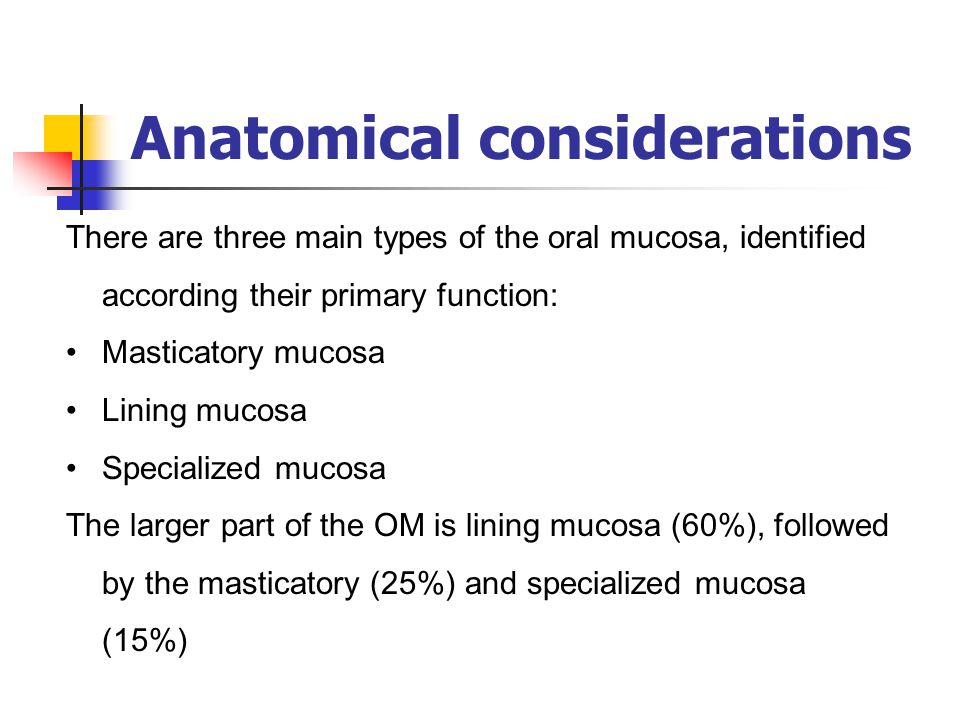 Anatomical considerations There are three main types of the oral mucosa, identified according their primary function: Masticatory mucosa Lining mucosa