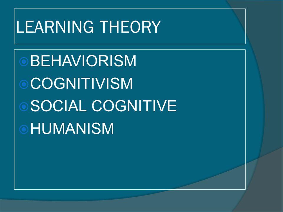 LEARNING THEORY  BEHAVIORISM  COGNITIVISM  SOCIAL COGNITIVE  HUMANISM