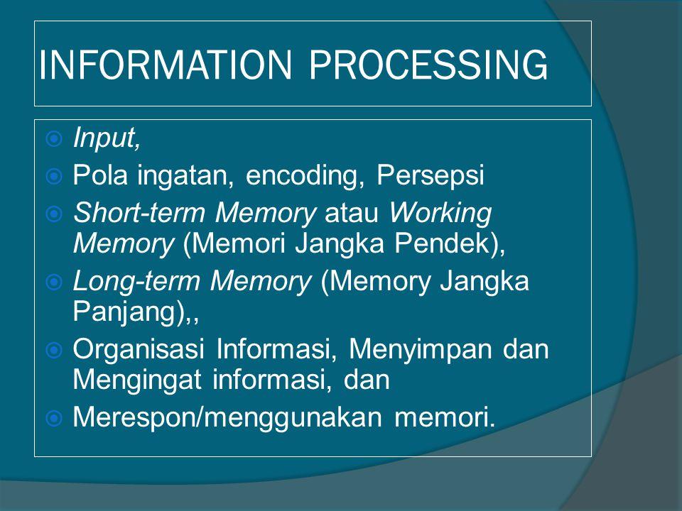 INFORMATION PROCESSING  Input,  Pola ingatan, encoding, Persepsi  Short-term Memory atau Working Memory (Memori Jangka Pendek),  Long-term Memory
