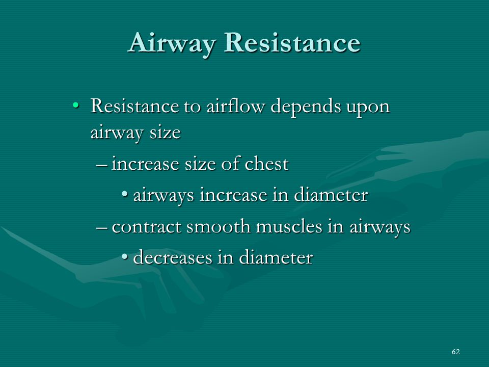 62 Airway Resistance Resistance to airflow depends upon airway sizeResistance to airflow depends upon airway size –increase size of chest airways incr