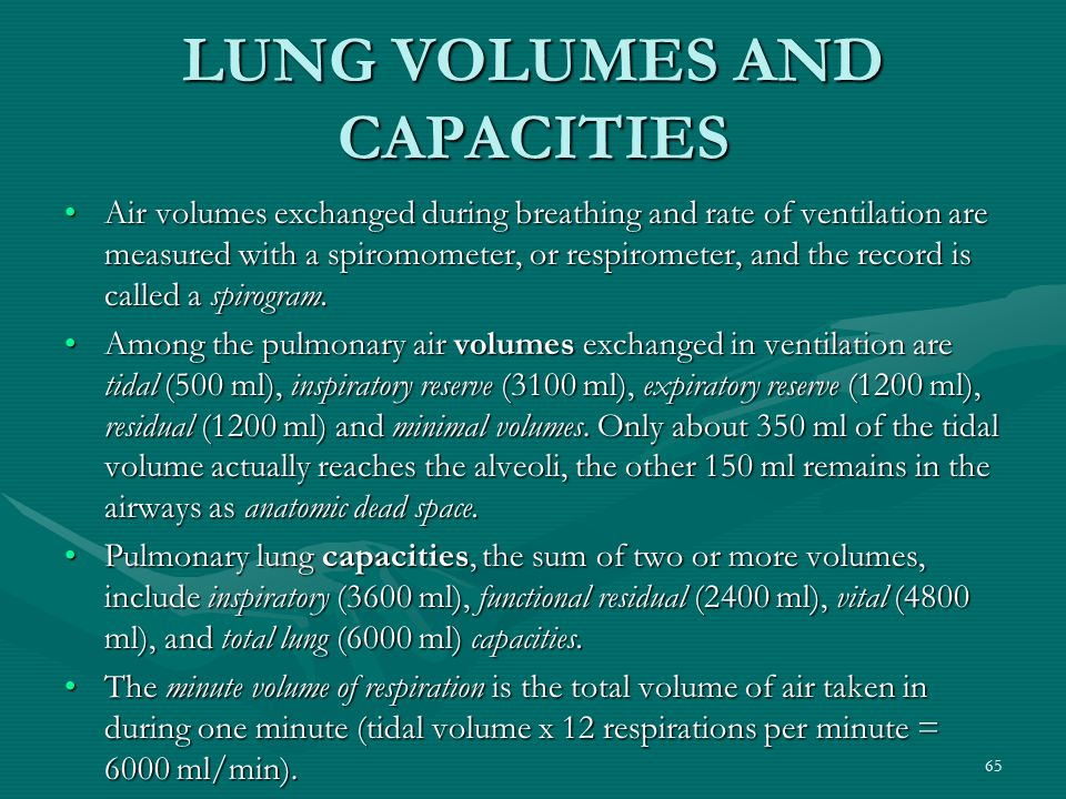 65 LUNG VOLUMES AND CAPACITIES Air volumes exchanged during breathing and rate of ventilation are measured with a spiromometer, or respirometer, and t